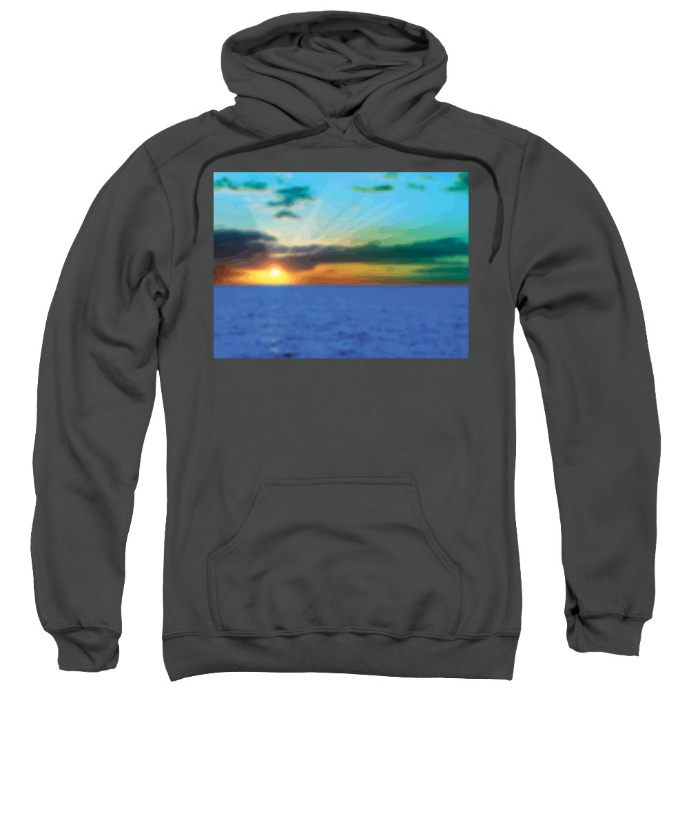 Abstract Sweatshirt featuring the digital art Sunset Waters by James Kramer