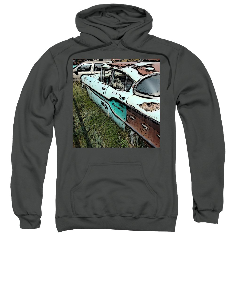 Chevy Sweatshirt featuring the digital art Super Chevy II by Cathy Anderson