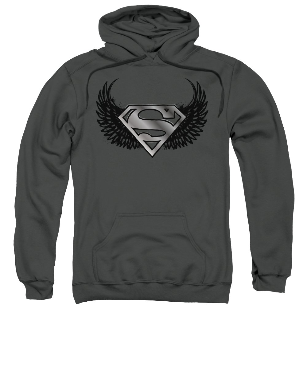 Superman Sweatshirt featuring the digital art Superman - Dirty Wings by Brand A
