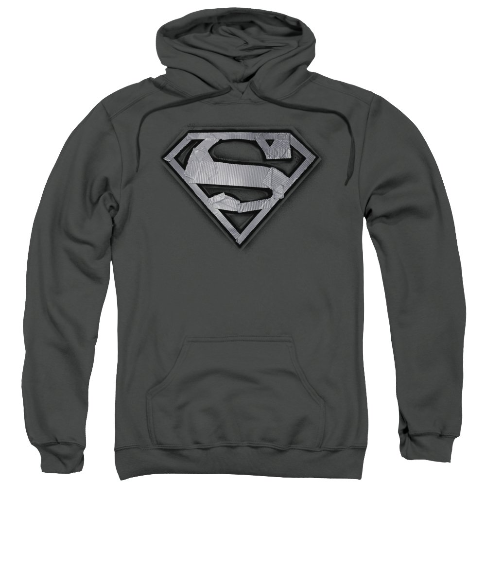 Superman Sweatshirt featuring the digital art Superman - Duct Tape Shield by Brand A