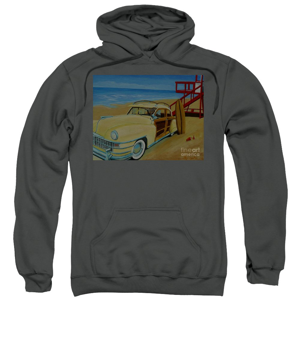 Woody Sweatshirt featuring the painting Surfers Woody by Anthony Dunphy