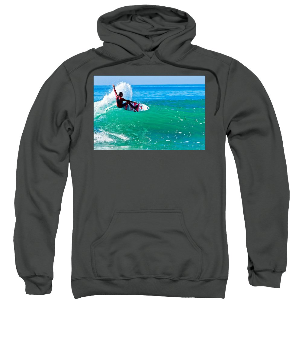 Surfer Sweatshirt featuring the photograph Surfing California by Ben Graham