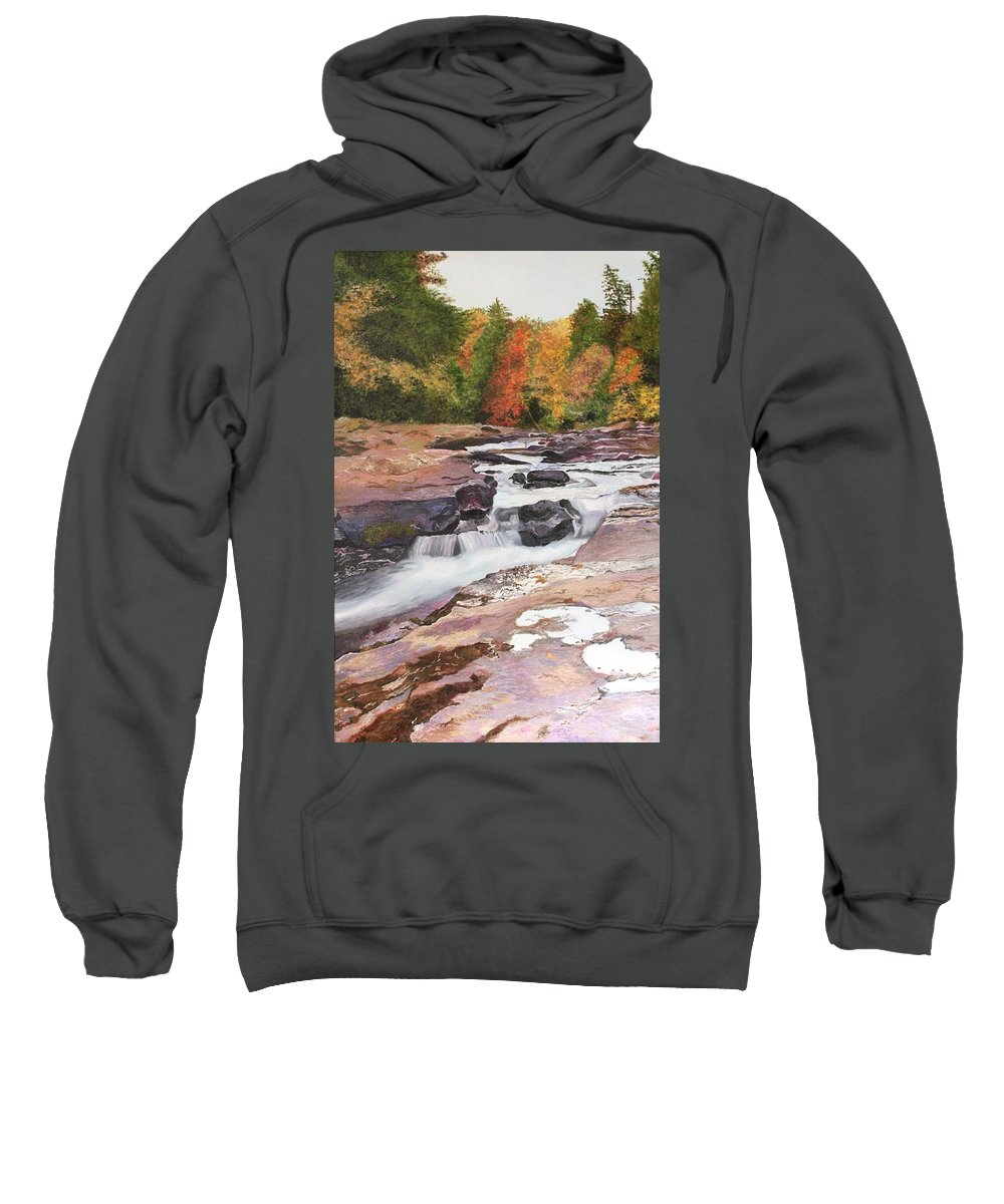 Sweatshirt featuring the painting Swallow Falls by Stephanie Hatfalvi