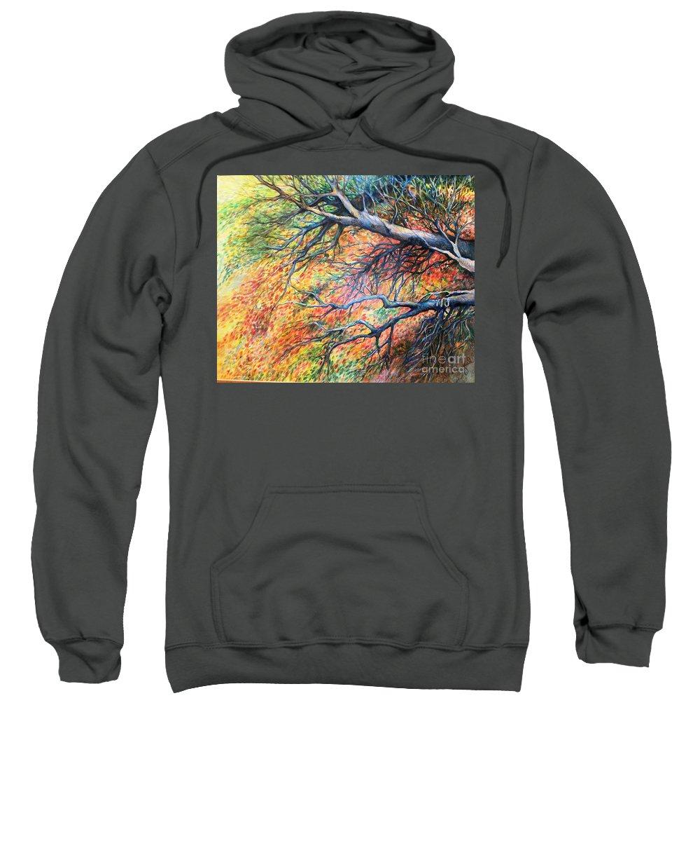 Landscape Sweatshirt featuring the drawing Sway Dancing Trees by Linda Shackelford