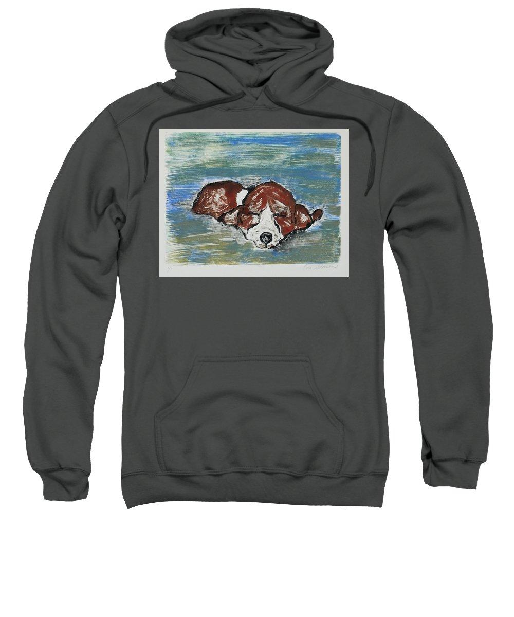 Basset Hound Sweatshirt featuring the mixed media Sweet Dreams by Cori Solomon
