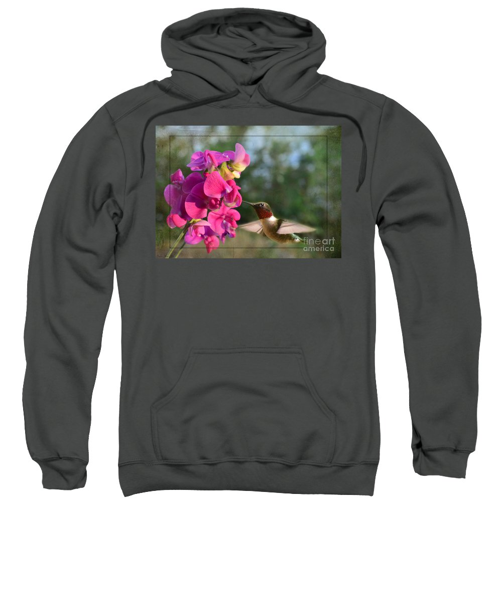 Nature Sweatshirt featuring the photograph Sweet Pea Hummingbird II by Debbie Portwood
