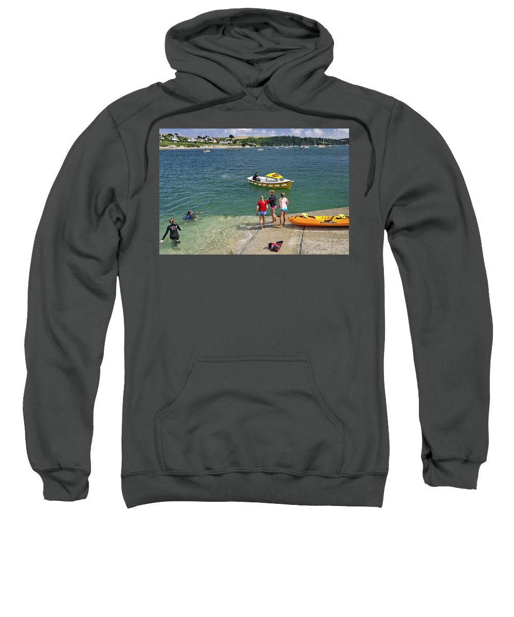 Britain Sweatshirt featuring the photograph Swimmers On The Slipway - St Mawes by Rod Johnson