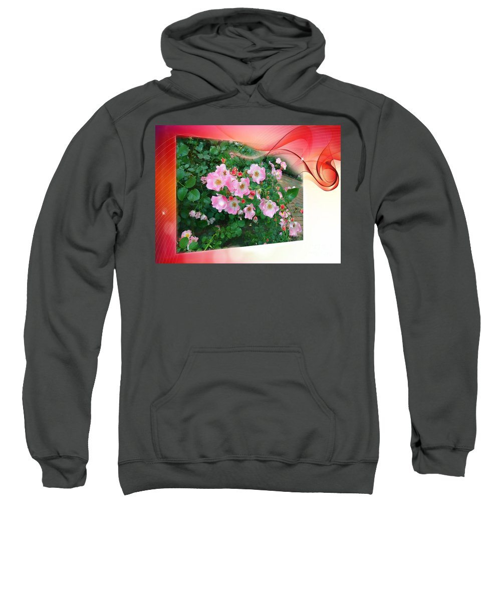 Pink Flowers Sweatshirt featuring the photograph Swirl Of Colors by Becky Lupe