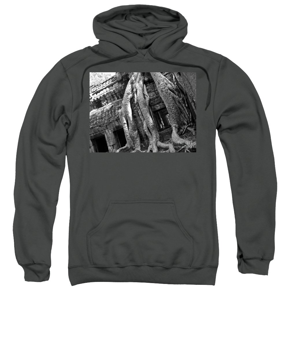 Cambodia Sweatshirt featuring the photograph Ta Prohm Roots And Stone 03 by Rick Piper Photography