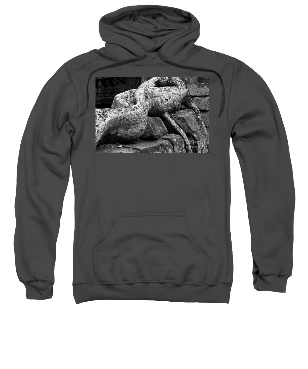Cambodia Sweatshirt featuring the photograph Ta Prohm Roots And Stone 06 by Rick Piper Photography