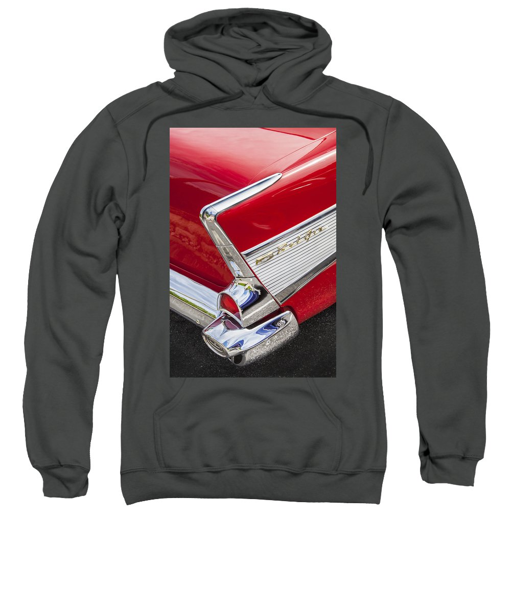 1957 Chevy Sweatshirt featuring the photograph Tail Fins Are In 1957 Chevy by Rich Franco