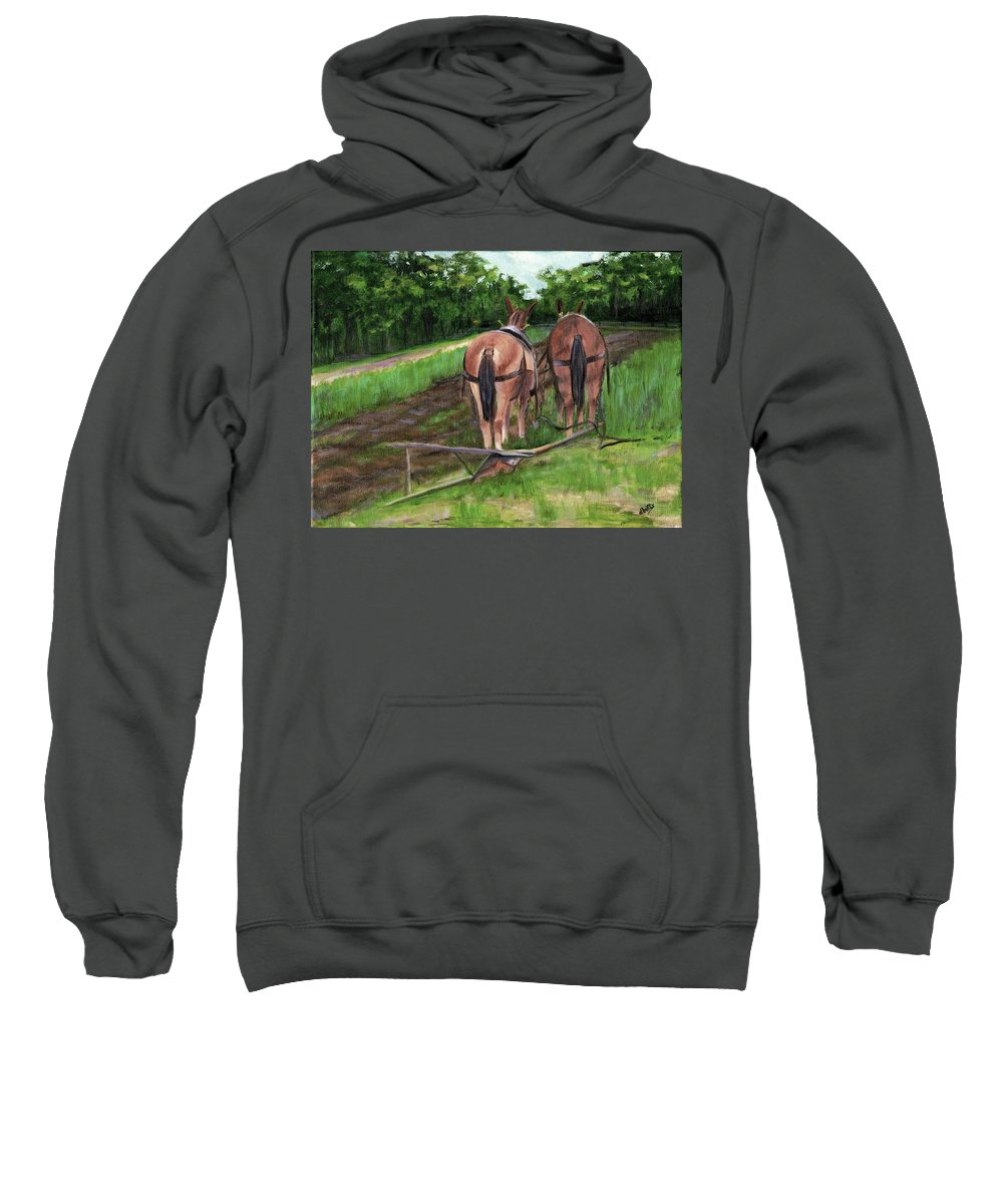 Mules Sweatshirt featuring the painting Taking A Break by Deborah Butts