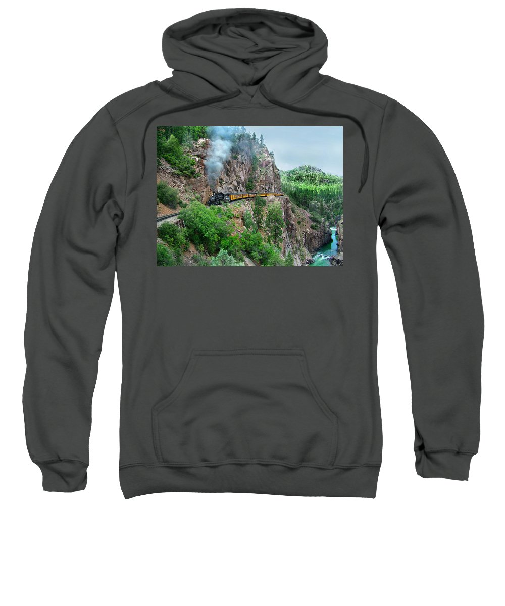 Steam Train Sweatshirt featuring the photograph Taking The Highline Home by Ken Smith
