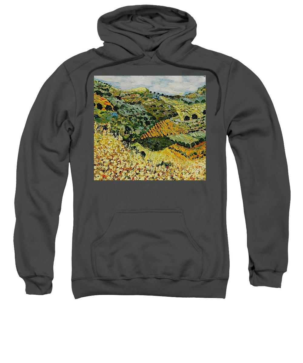 Landscape Sweatshirt featuring the painting Tall Grass by Allan P Friedlander