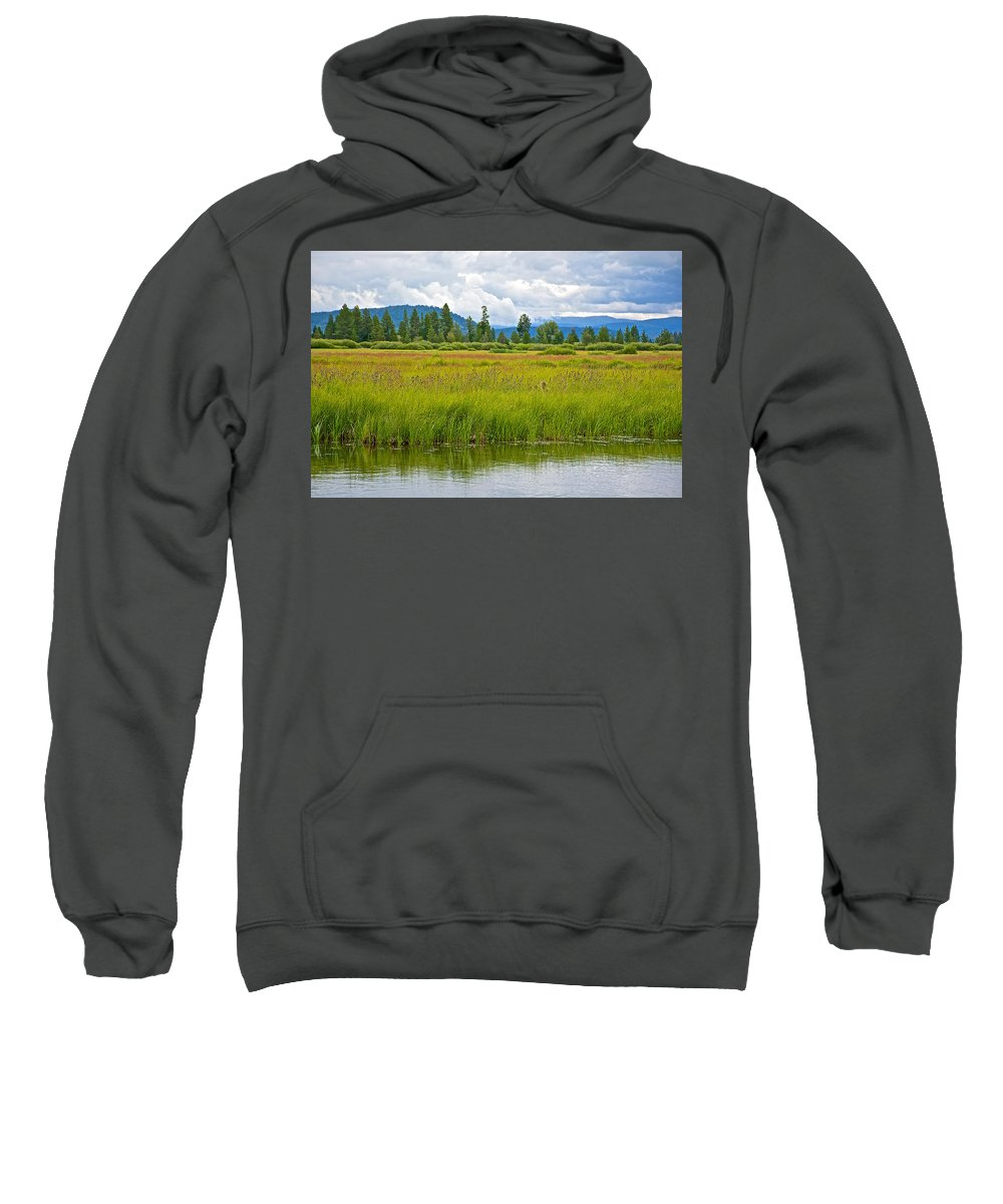 Tall Grasses In Swan Lake In Grand Teton National Park Sweatshirt featuring the photograph Tall Grasses In Swan Lake In Grand Teton National Park-wyoming by Ruth Hager