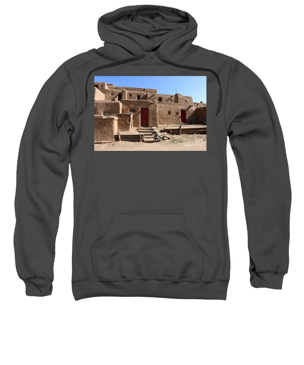 Pueblo Sweatshirt featuring the photograph Taos Red Doors by Christiane Schulze Art And Photography