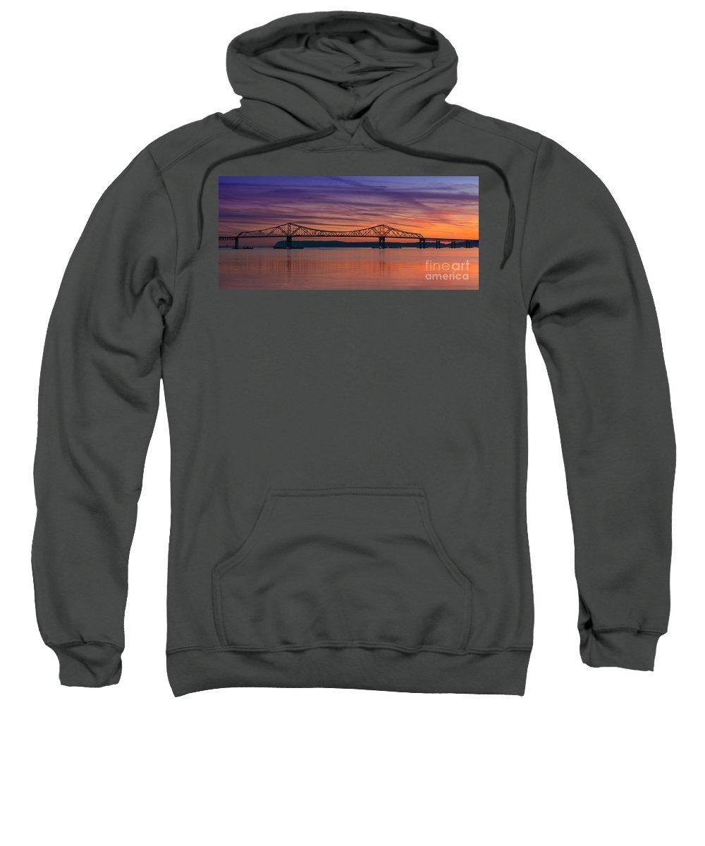 Tappan Zee Bridge Sweatshirt featuring the photograph Tappan Zee Bridge Sunset by Michael Ver Sprill