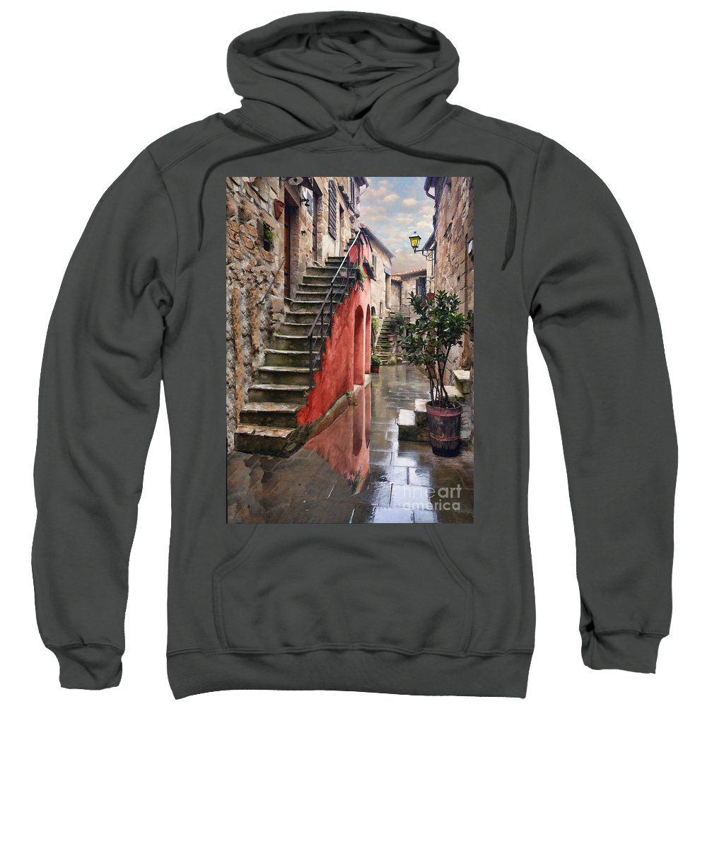 Medieval Sweatshirt featuring the digital art Tarquinian Red Stairs by Sharon Foster