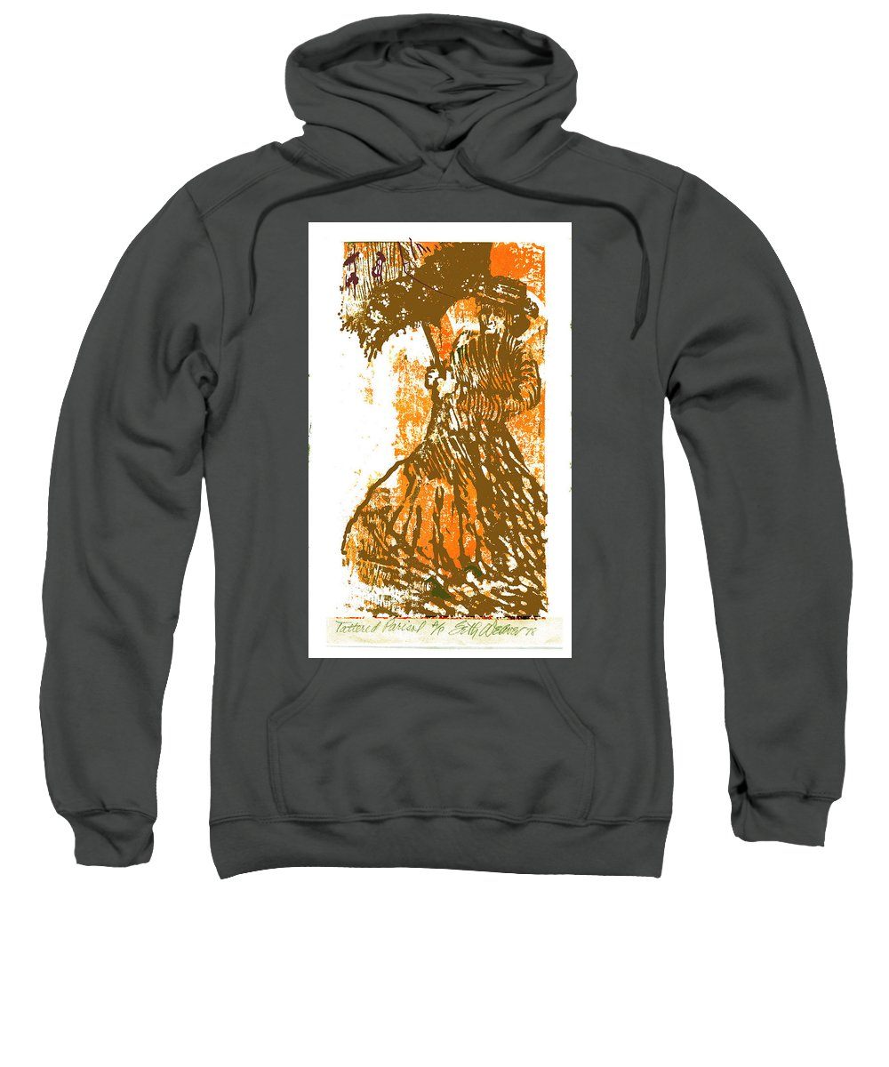 Tattered Parasol Sweatshirt featuring the drawing Tattered Parasol by Seth Weaver
