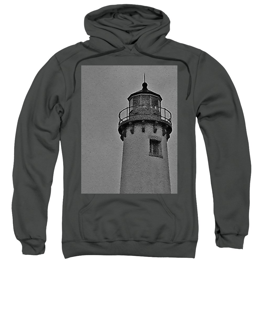 Light Houst Sweatshirt featuring the photograph Tawas Point In The Rain by Daniel Thompson