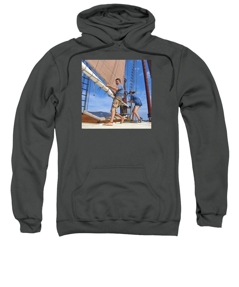 Schooner Sweatshirt featuring the photograph Teamwork On The Lake by Ann Horn