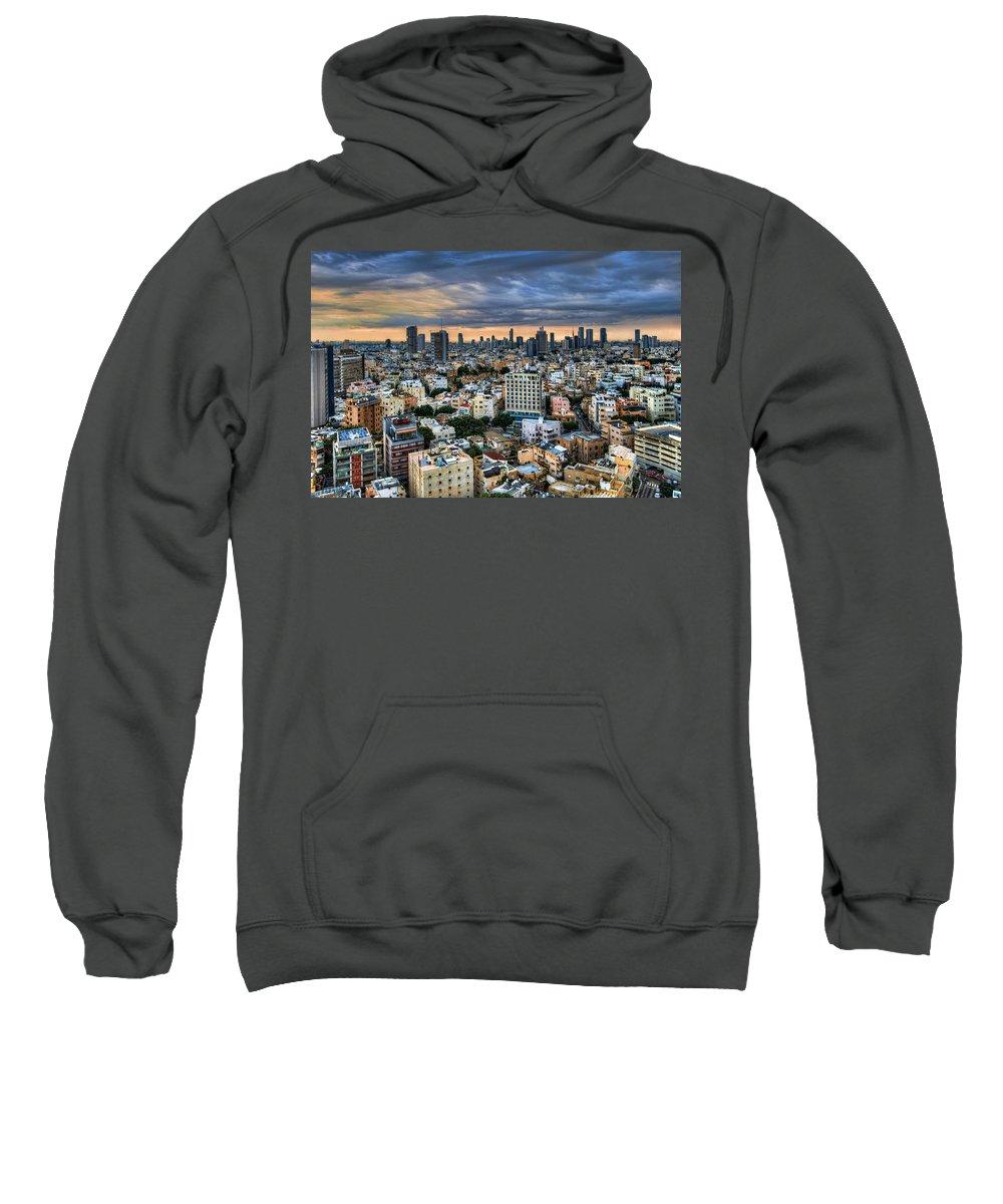 Ronsho Sweatshirt featuring the photograph Tel Aviv City Skyline by Ronsho