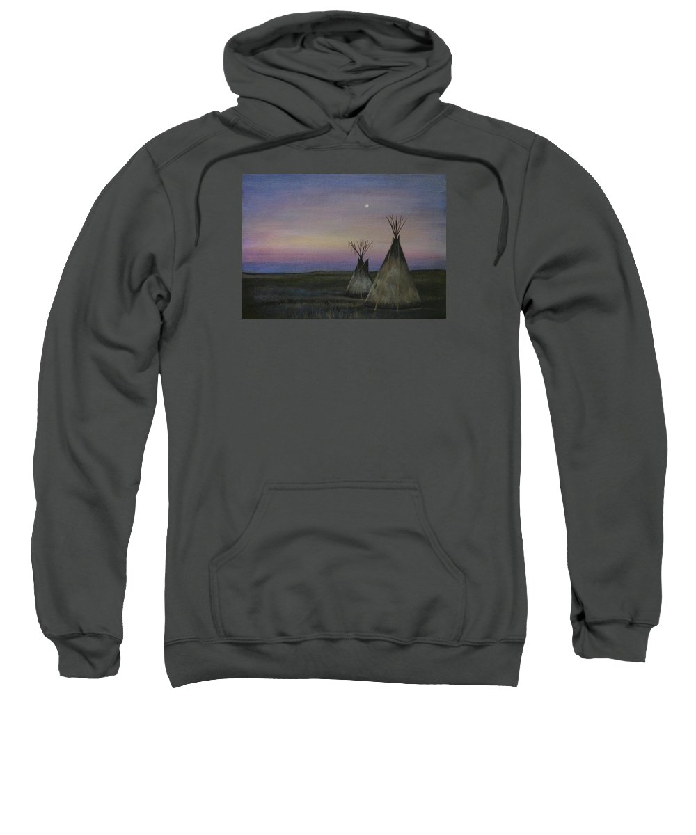 Tepee Sweatshirt featuring the painting Teepees by Lucy Deane