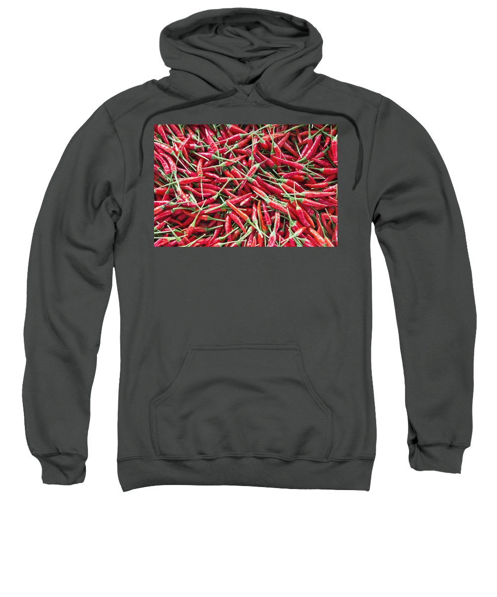 Chili Sweatshirt featuring the photograph Thai Chili Peppers Background by Jit Lim