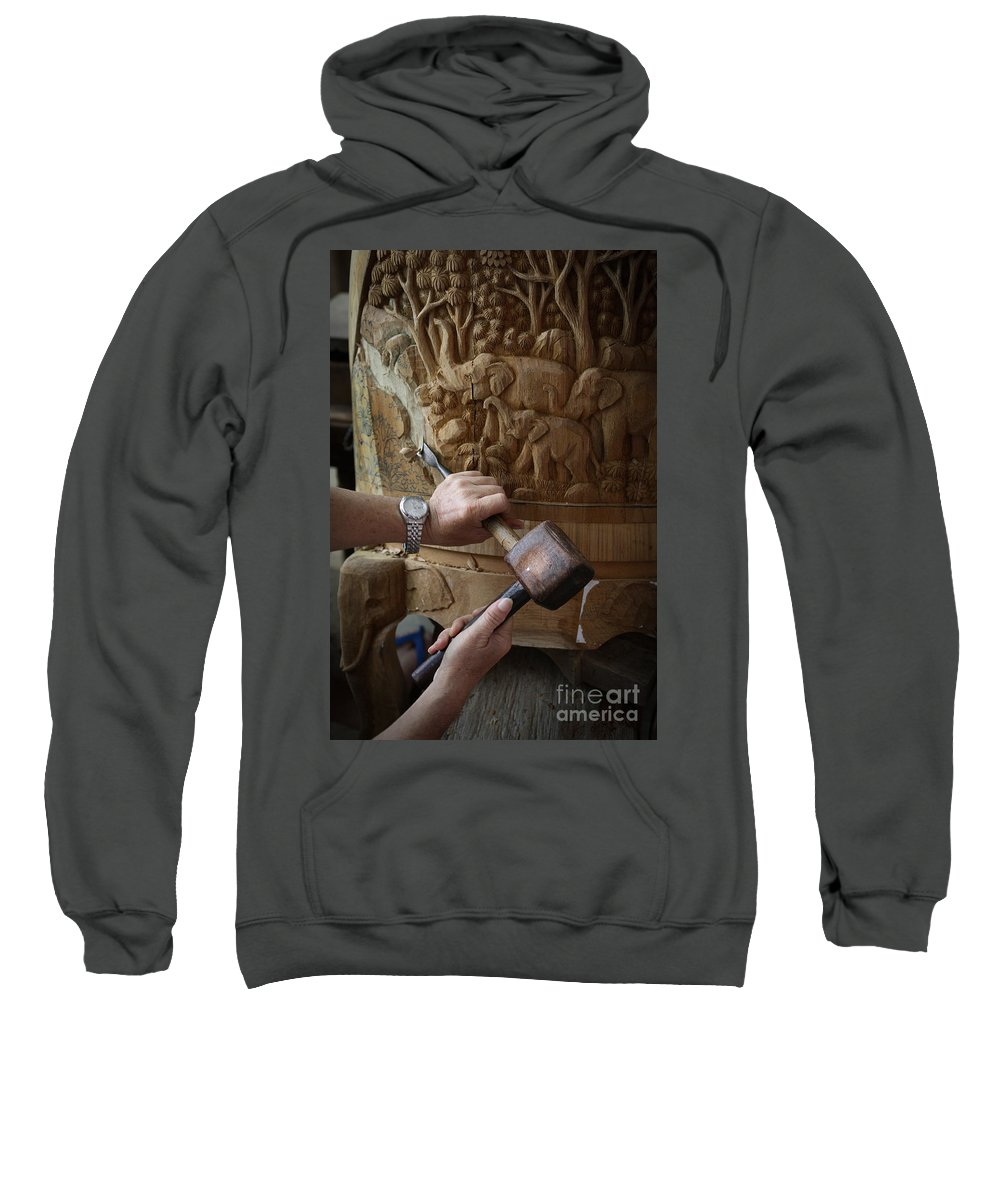 Asia Sweatshirt featuring the photograph Thai Woodworker by Inge Johnsson