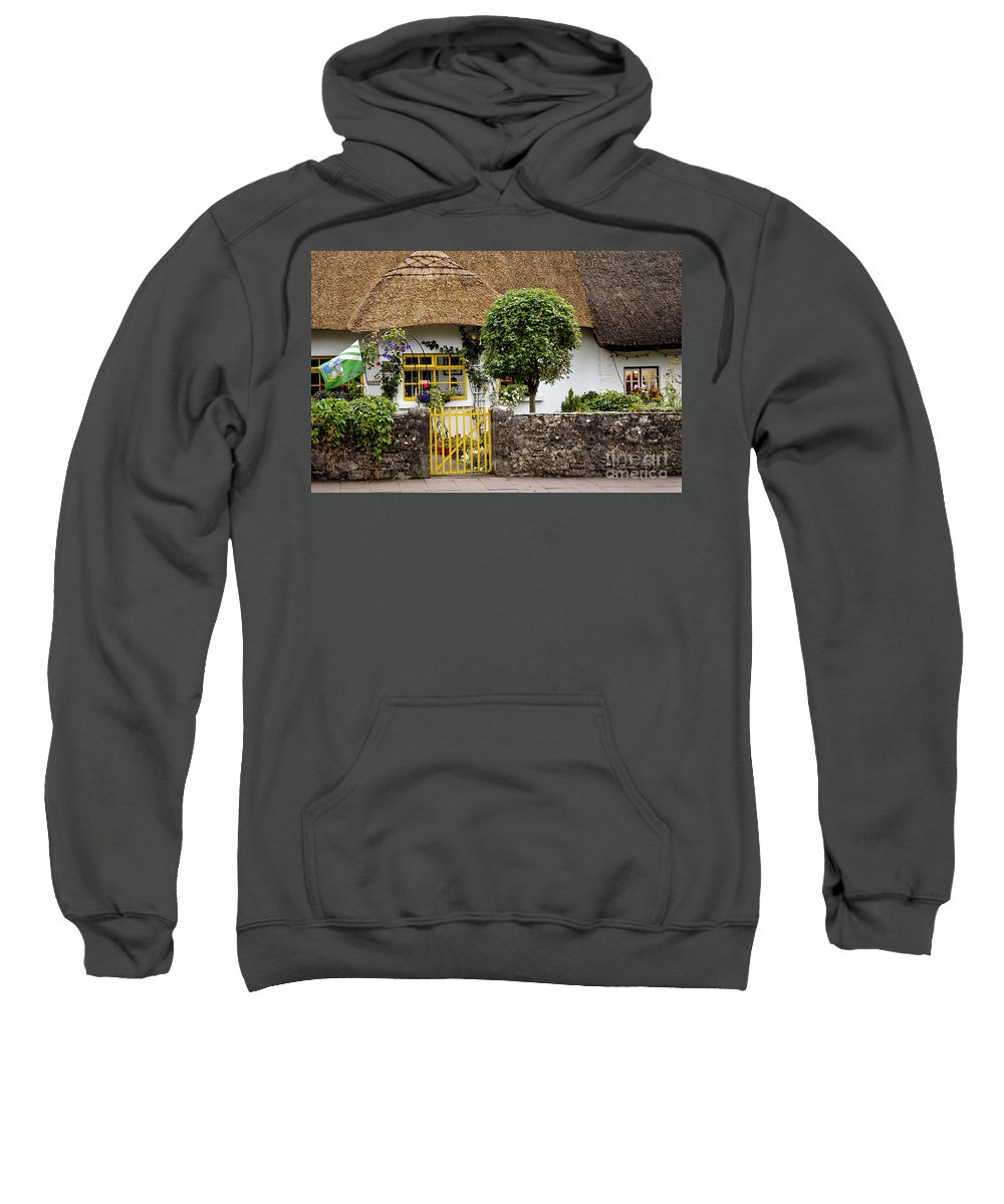 Ireland Digital Photography Sweatshirt featuring the digital art Thatched Cottage House by Danielle Summa