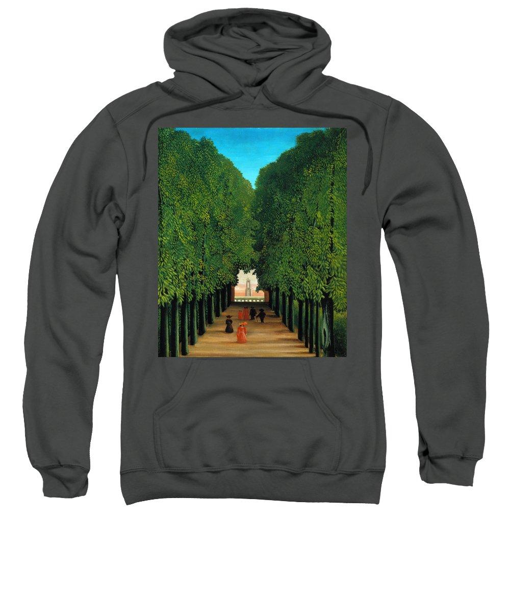Henri Rousseau Sweatshirt featuring the painting The Avenue In The Park At Saint Cloud  by Henri Rousseau
