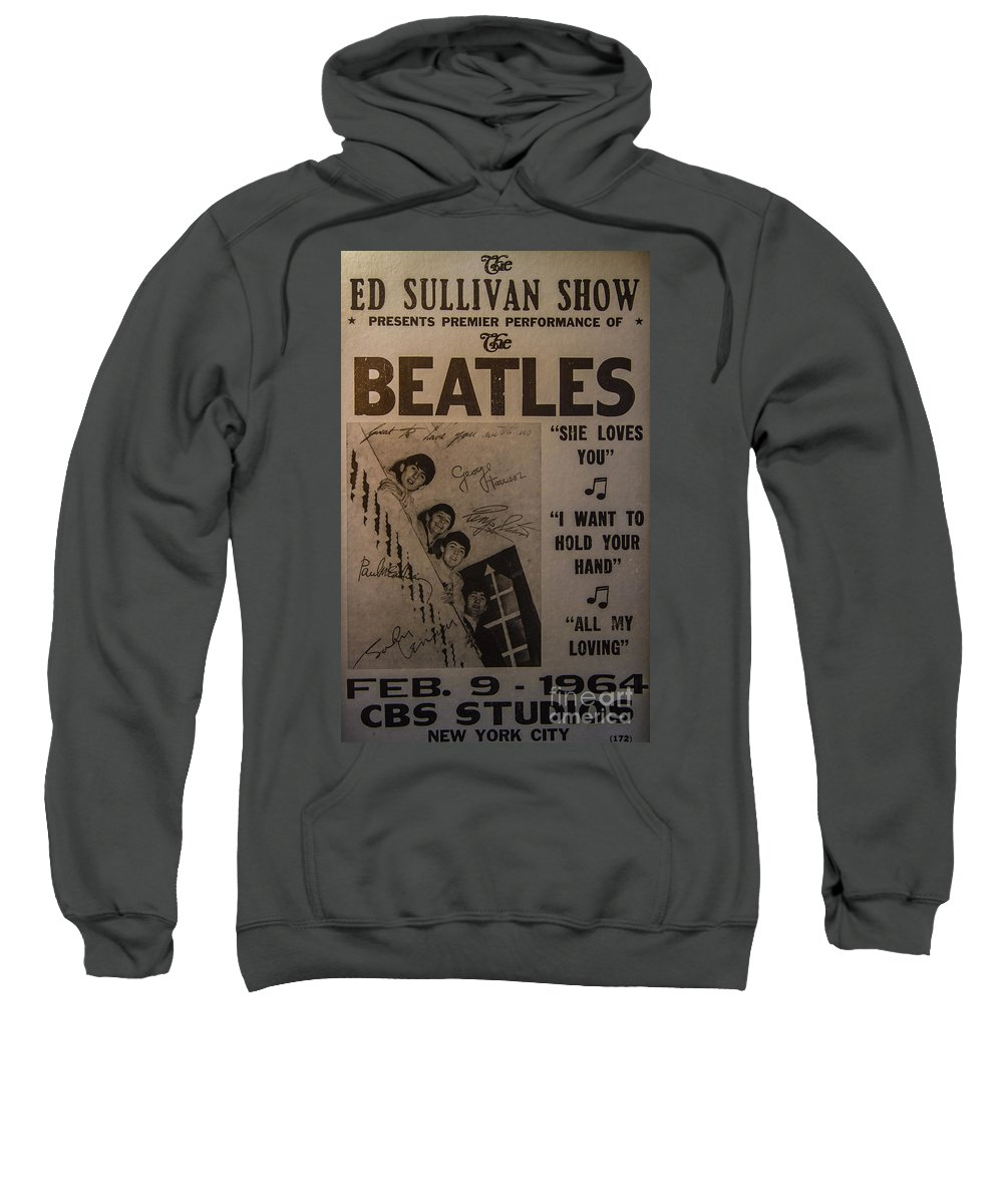The Beatles Ed Sullivan Show Poster Sweatshirt featuring the photograph The Beatles Ed Sullivan Show Poster by Mitch Shindelbower