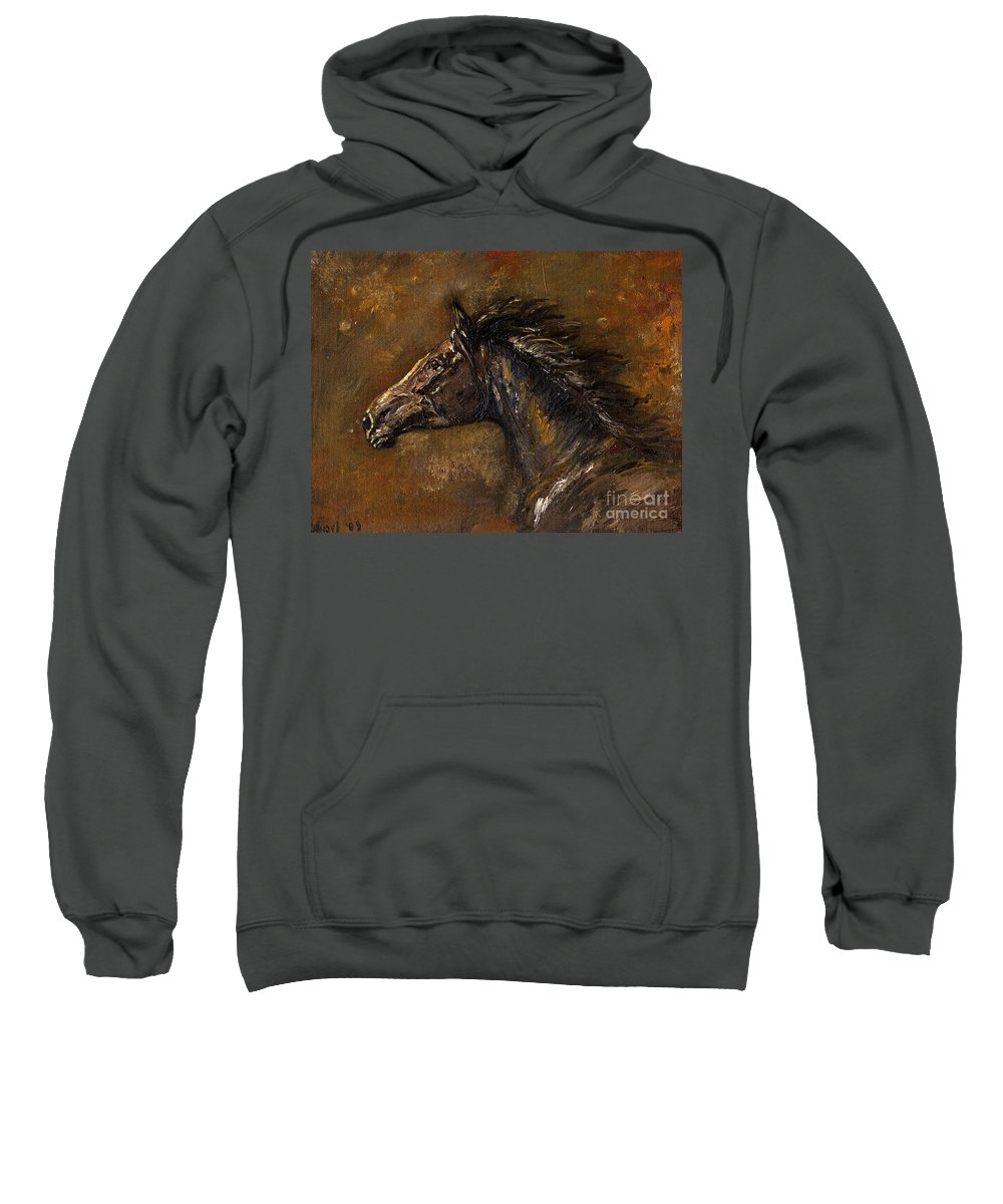 Horse Sweatshirt featuring the painting The Black Horse Oil Painting by Angel Ciesniarska