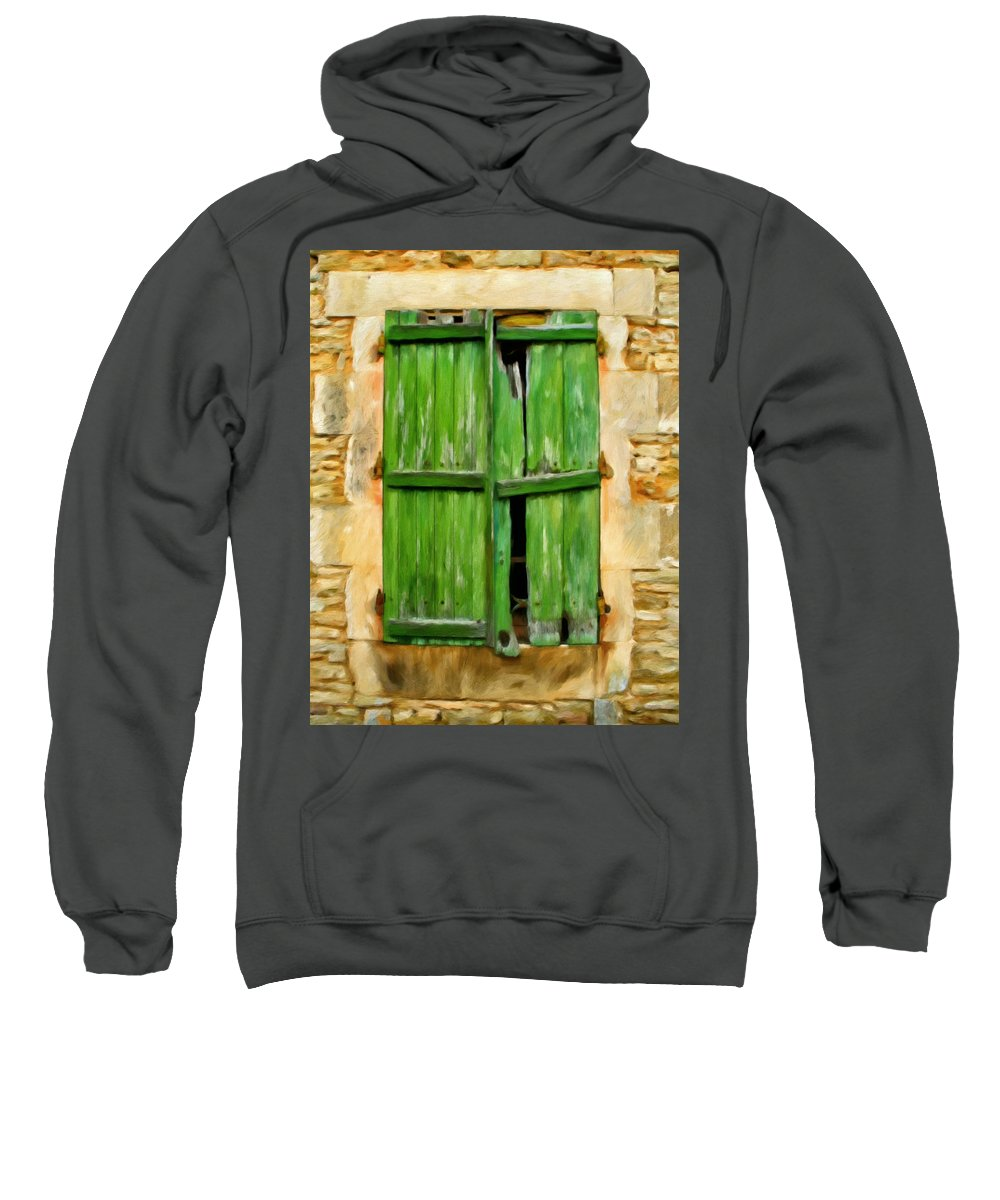 Old Windows Sweatshirt featuring the painting The Broken Shutters by Michael Pickett
