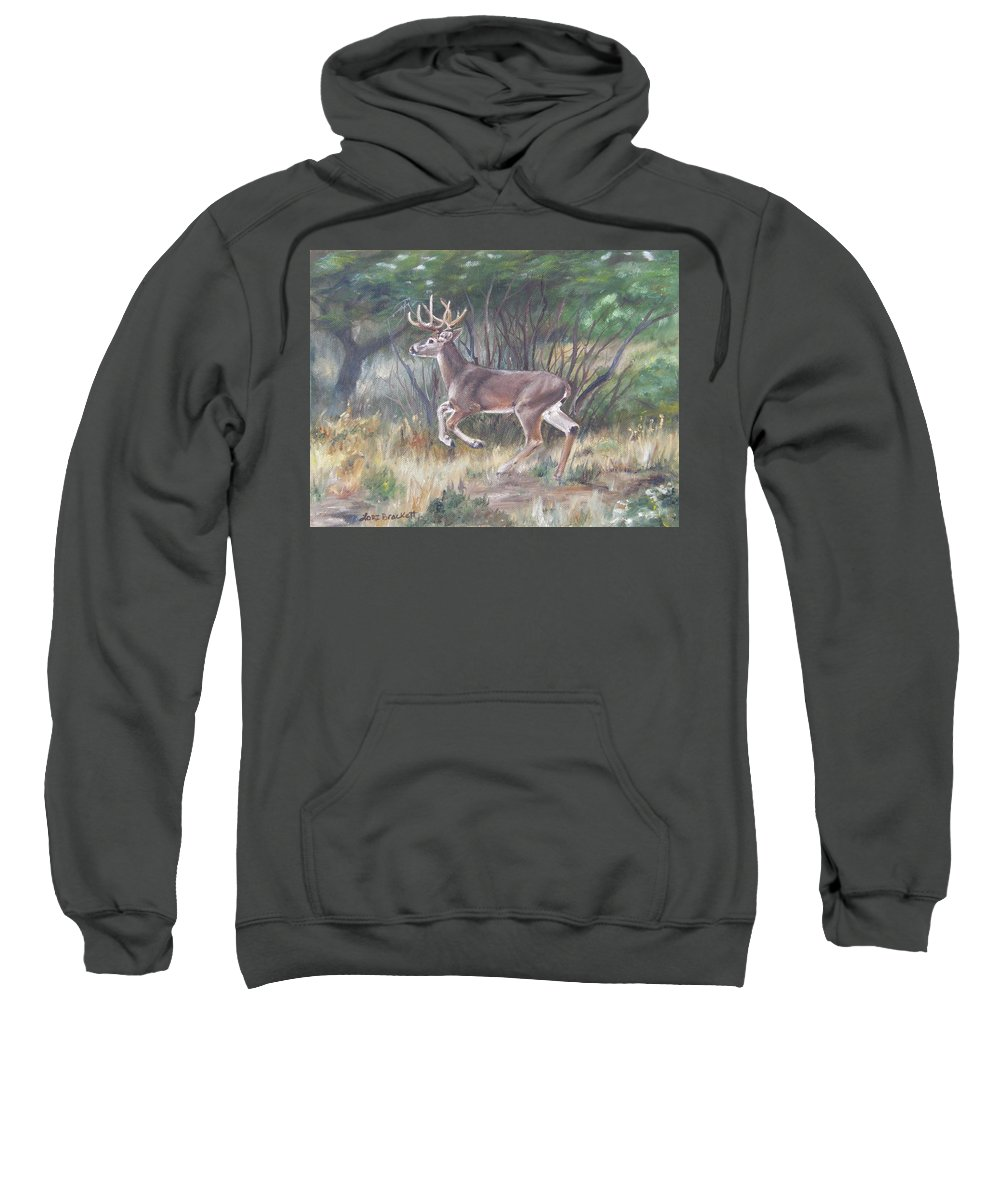 Deer Sweatshirt featuring the painting The Chase Is On by Lori Brackett