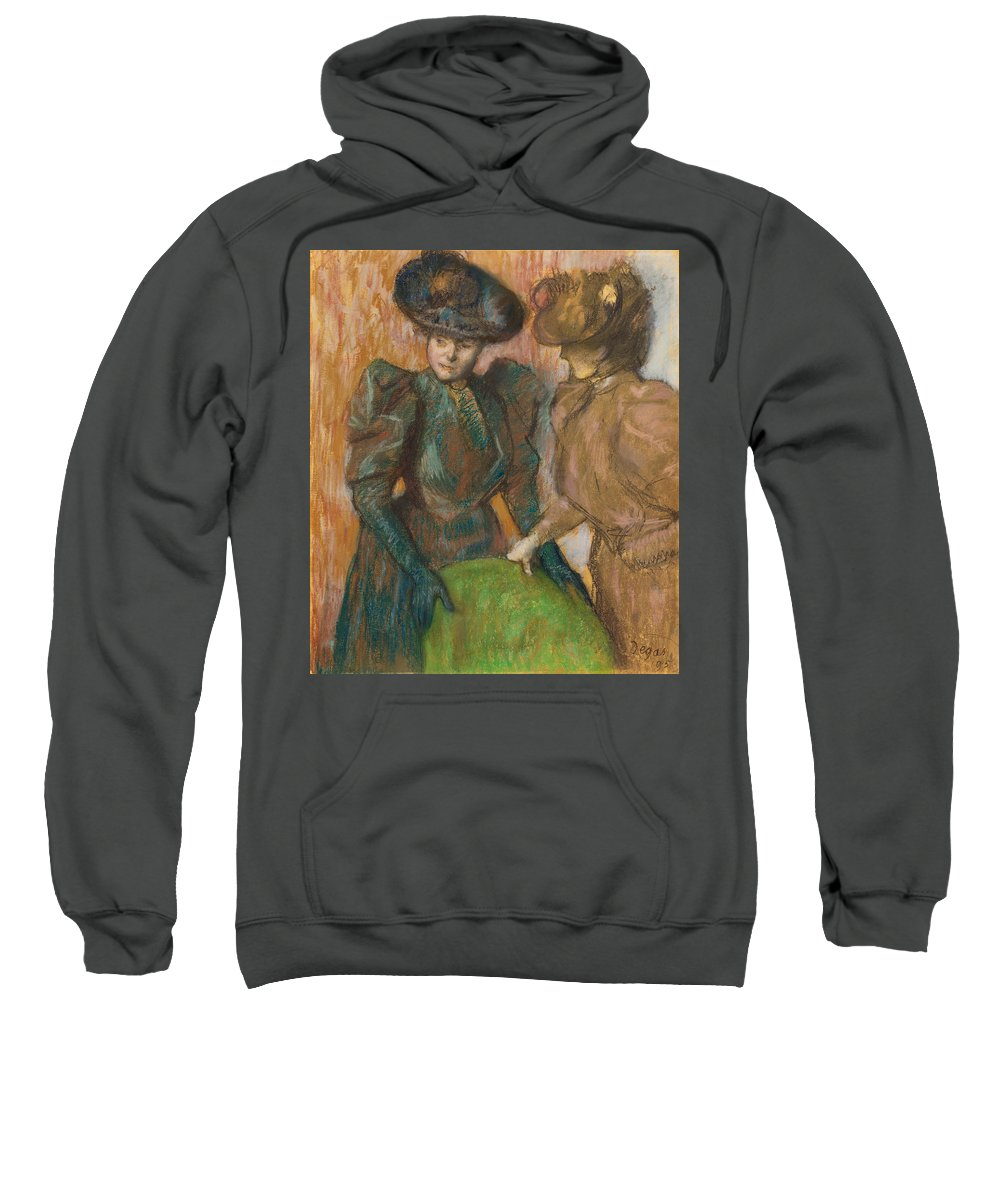 Edgar Degas Sweatshirt featuring the painting The Conversation by Edgar Degas