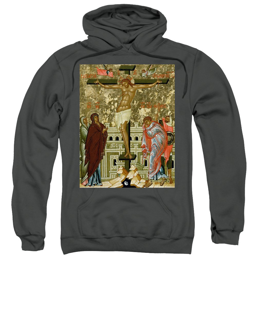 Stylised Skull Sweatshirt featuring the painting The Crucifixion Of Our Lord by Novgorod School