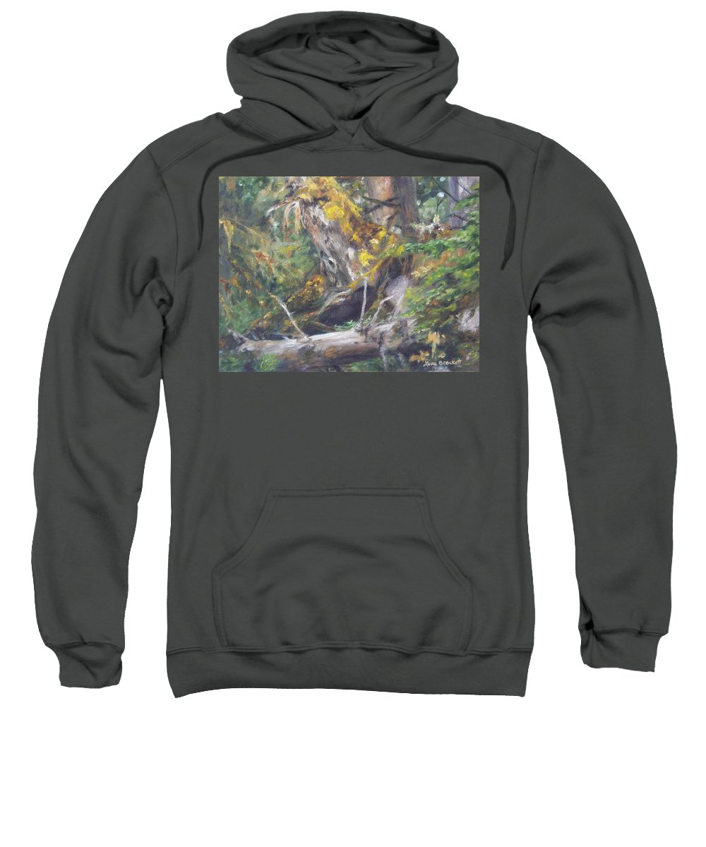 Landscape Sweatshirt featuring the painting The Crying Log by Lori Brackett