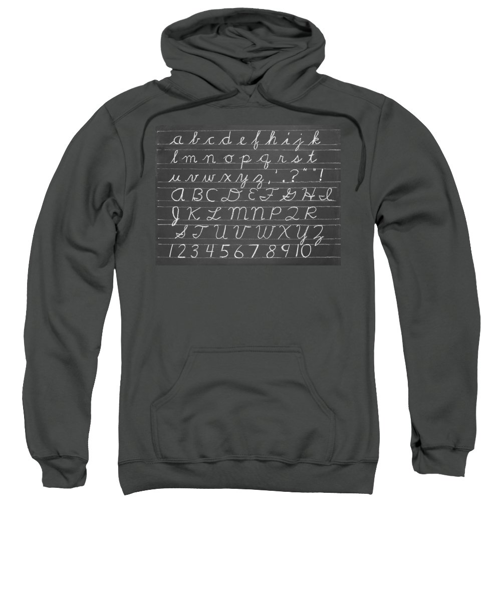 Blackboard Sweatshirt featuring the photograph The Cursive Alphabet by Chevy Fleet