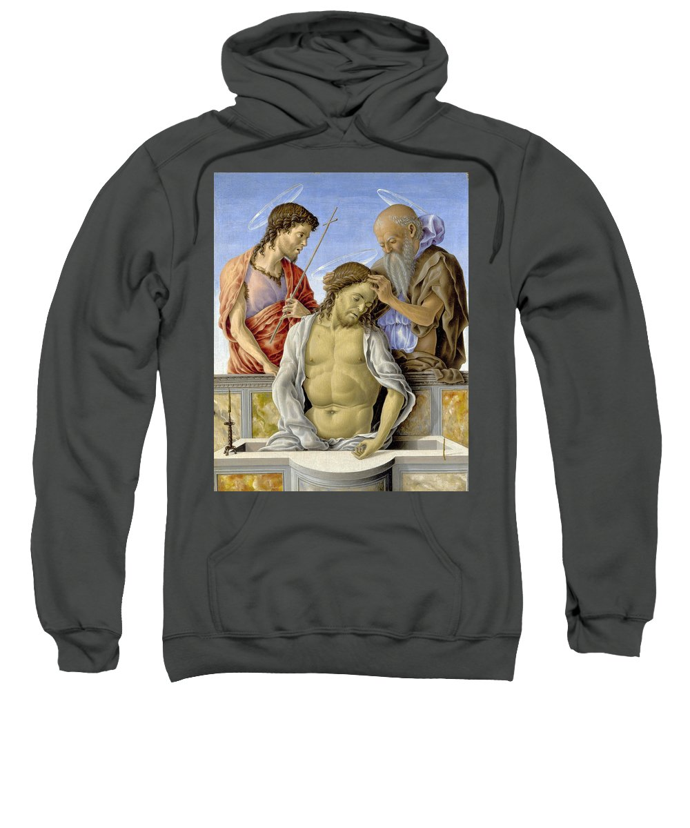 Marco Zoppo Sweatshirt featuring the painting The Dead Christ Supported By Saints by Marco Zoppo