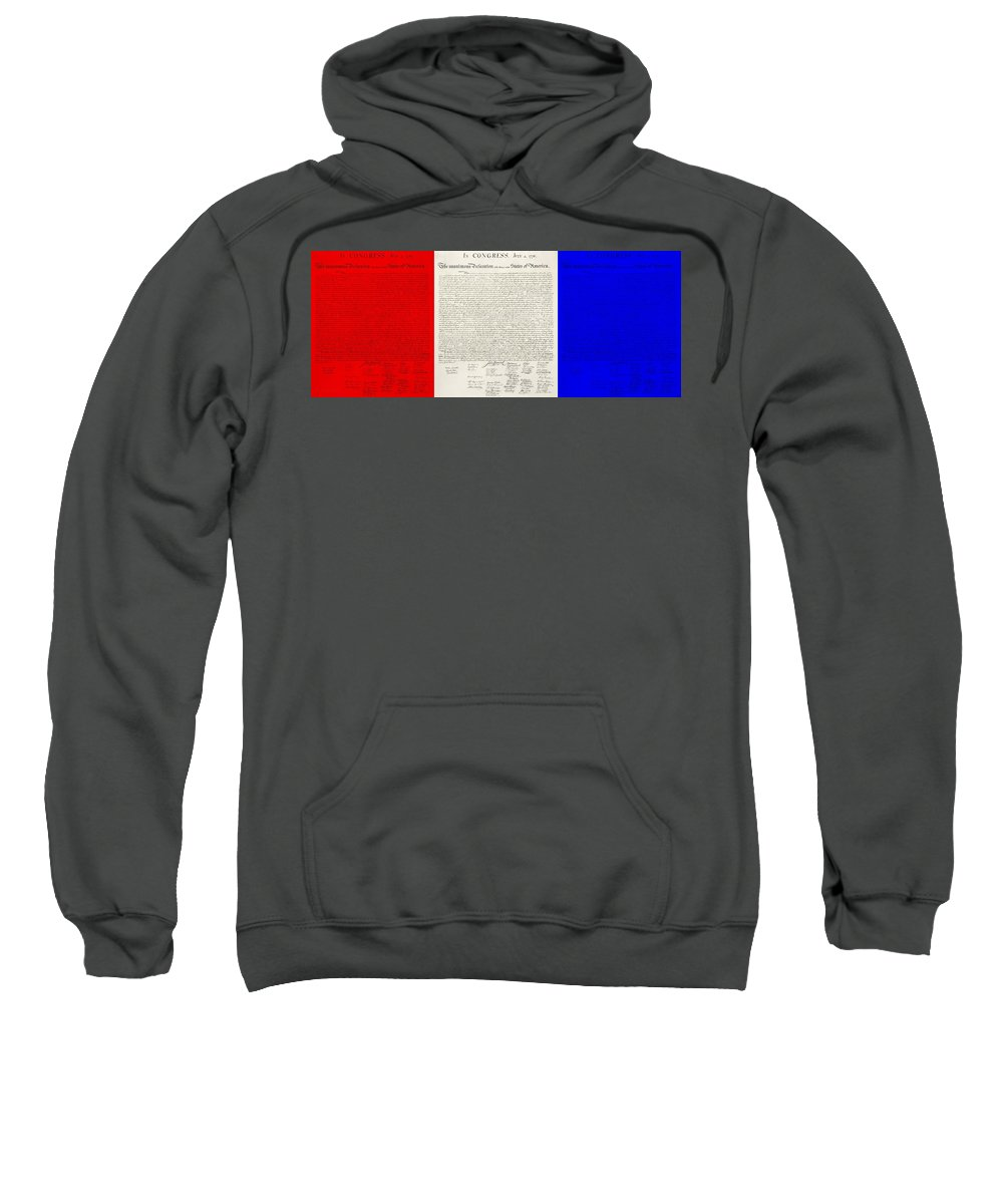 The Declaration Of Independence Sweatshirt featuring the photograph The Declaration Of Independence In Red White And Blue by Rob Hans