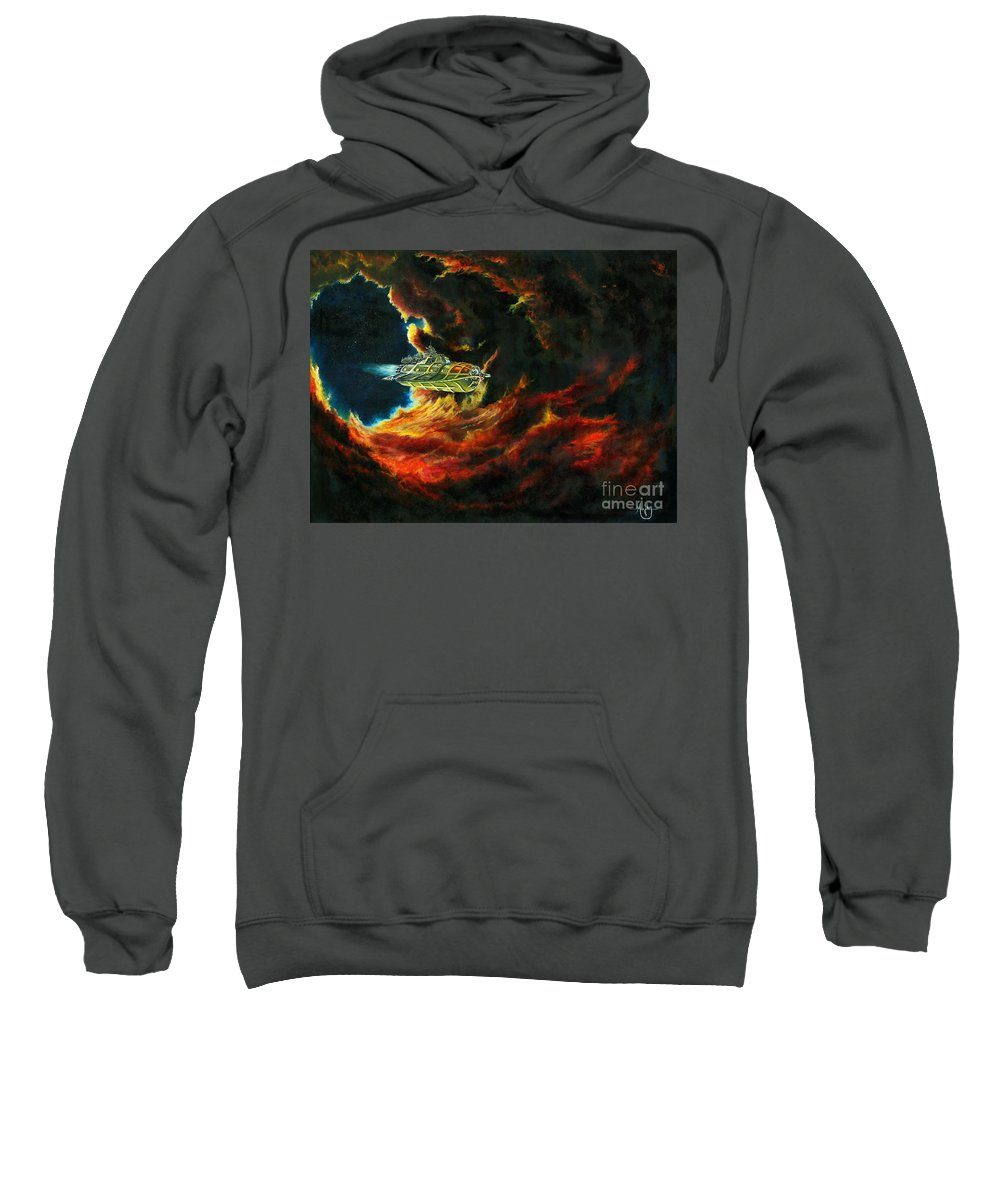 Devil Sweatshirt featuring the painting The Devil's Lair by Murphy Elliott