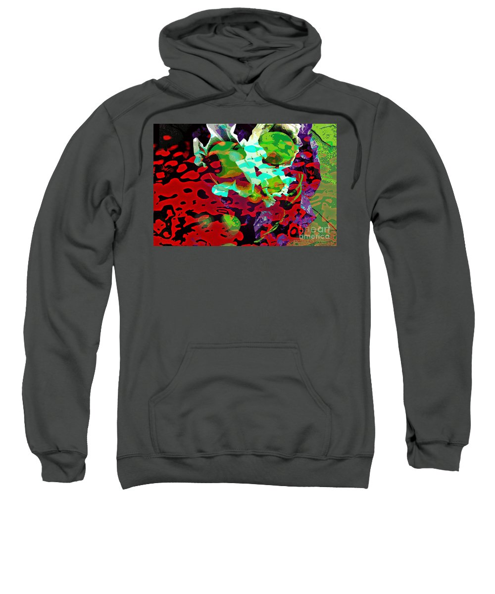 Digital Art Fruit Sweatshirt featuring the digital art The Forbidden Fruit by Yael VanGruber