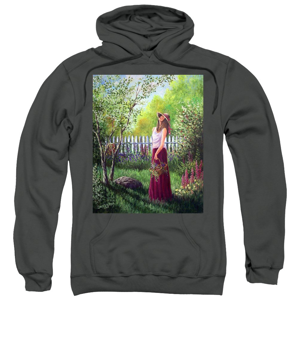 Fragrance Sweatshirt featuring the painting The Fragrance Of Spring by David G Paul