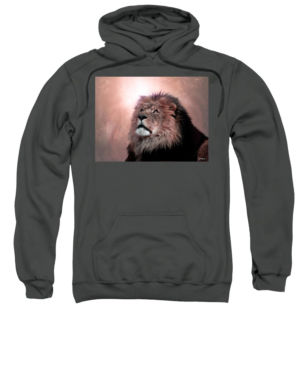 Lion Sweatshirt featuring the digital art The Garden by Bill Stephens