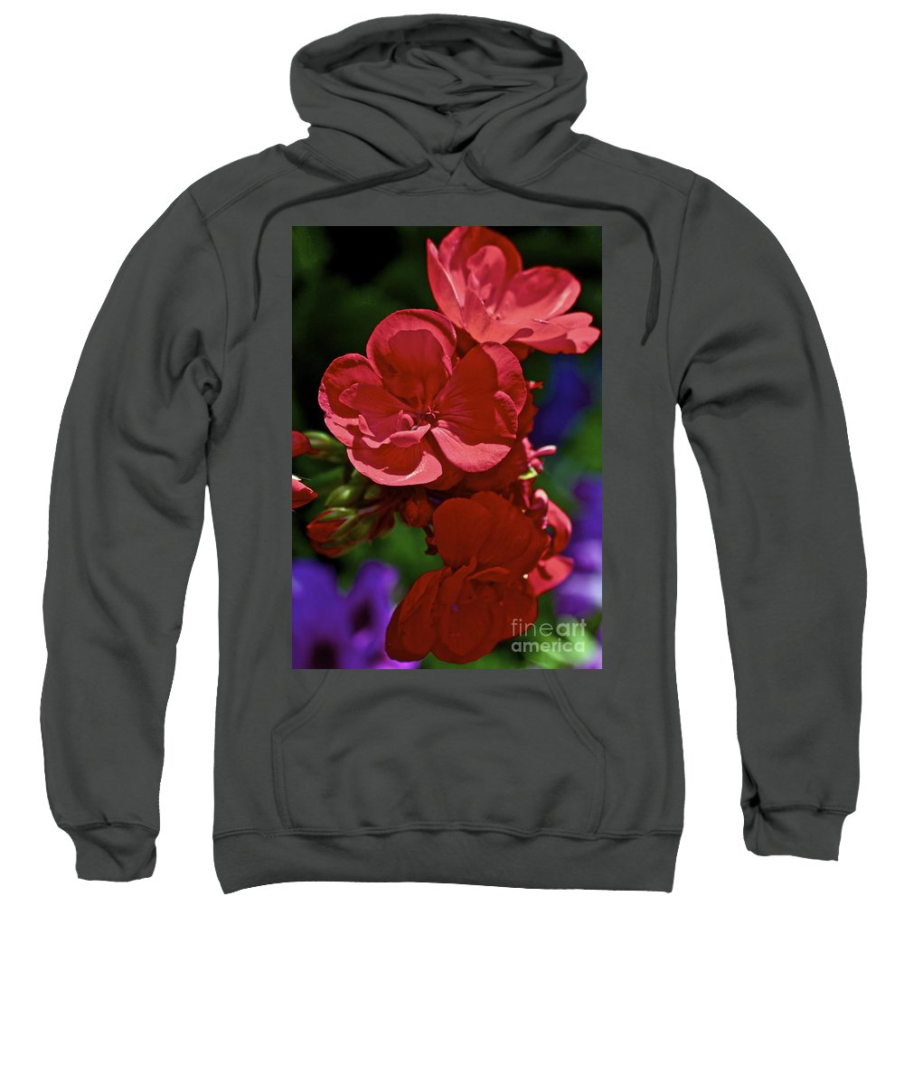 Geranium Sweatshirt featuring the photograph The Geraniums by Gwyn Newcombe