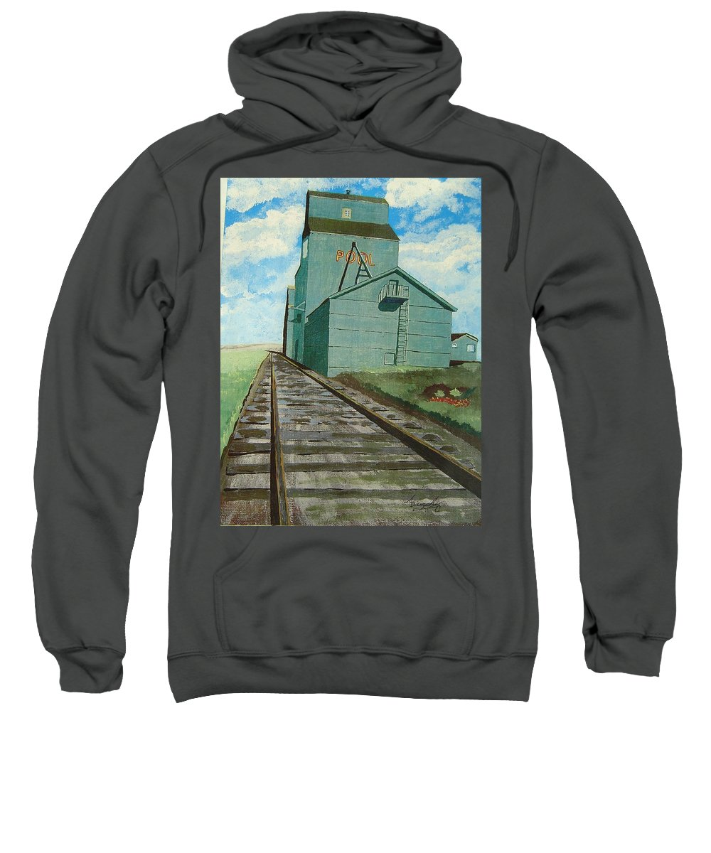 Elevator Sweatshirt featuring the painting The Grain Elevator by Anthony Dunphy