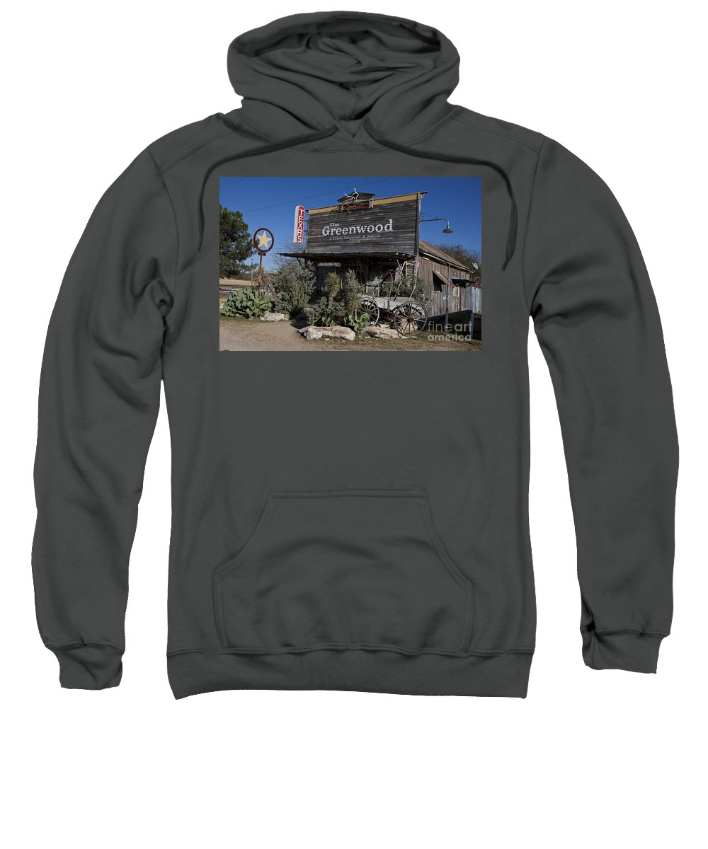 The Greenwood Sweatshirt featuring the photograph The Greenwood Dancehall And Saloon Bluff Dale Texas by Jason O Watson