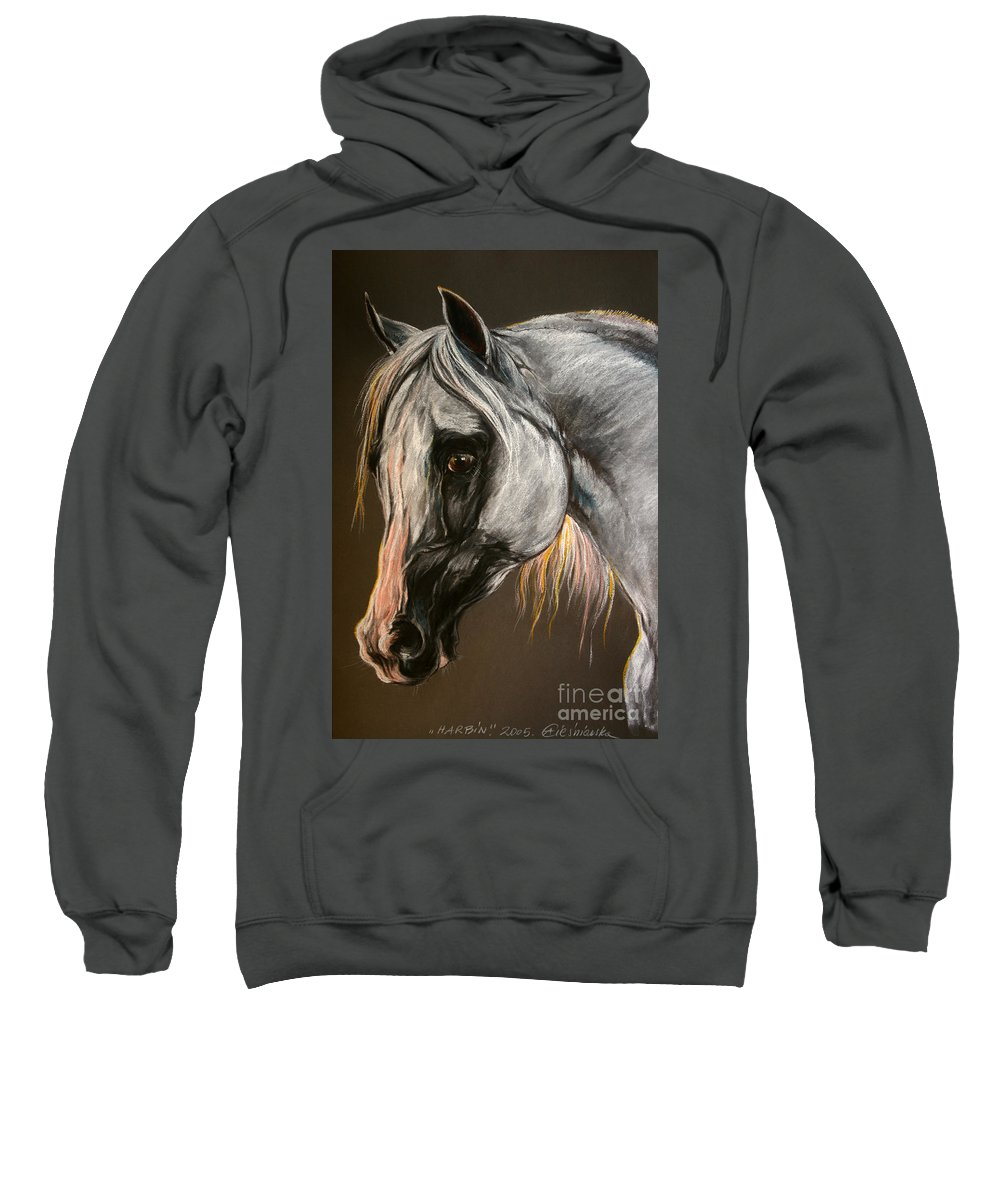 Horse Sweatshirt featuring the drawing The Grey Arabian Horse by Angel Ciesniarska