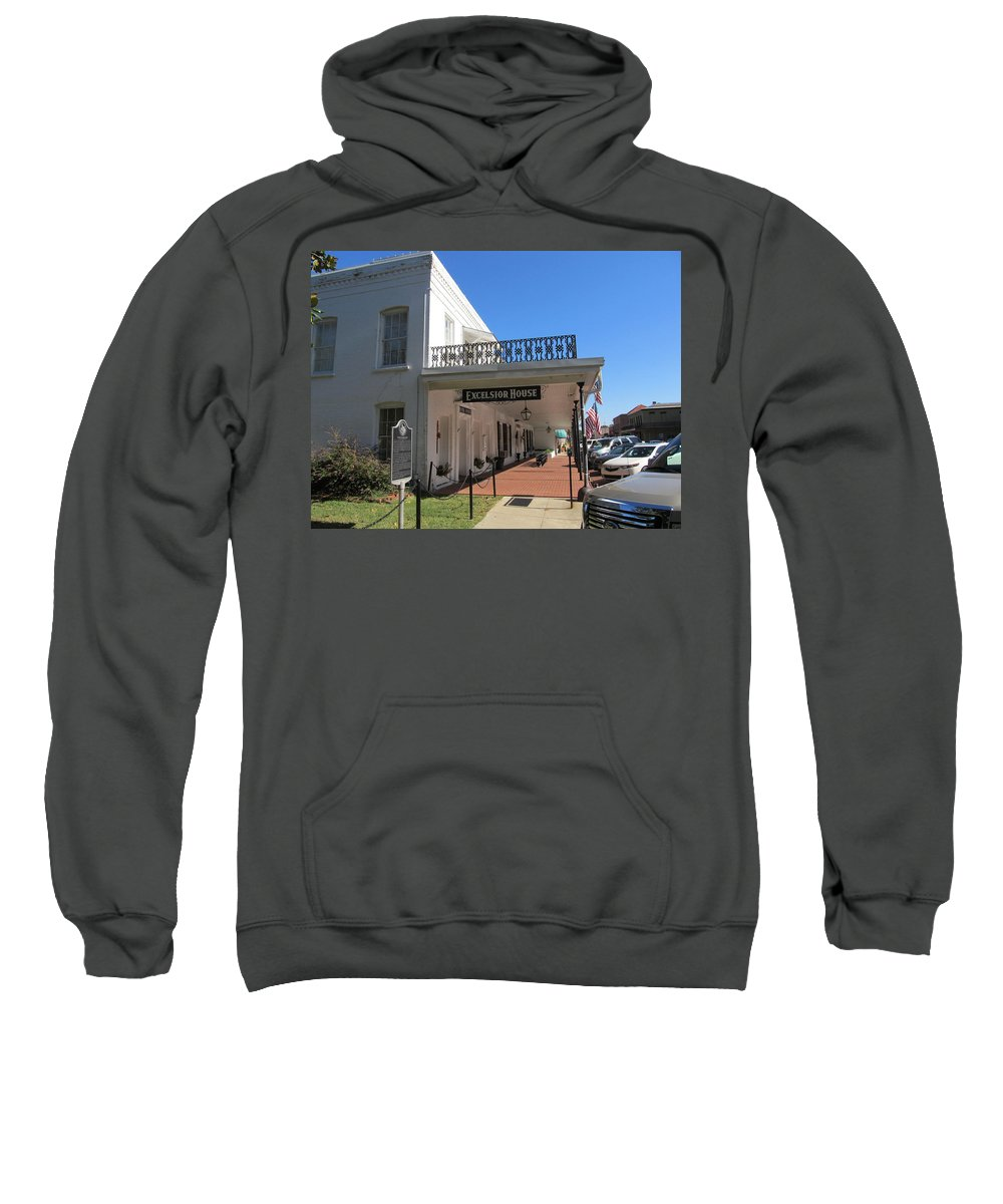 Excelsior Hotel Sweatshirt featuring the photograph The Historic Excelsior Hotel Jefferson Texas by Donna Wilson